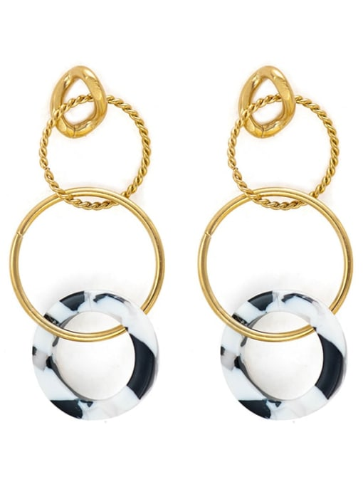 YAYACH Stainless steel circle acrylic Earrings 0
