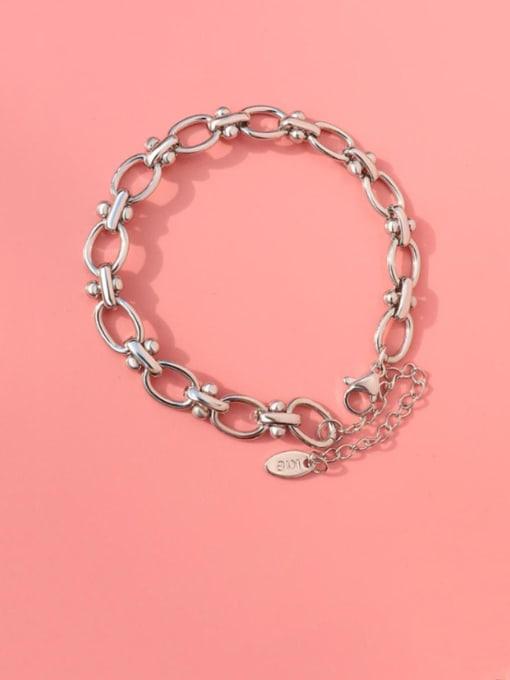 Steel color Titanium Steel Hollow  Geometric Chain Vintage Link Bracelet