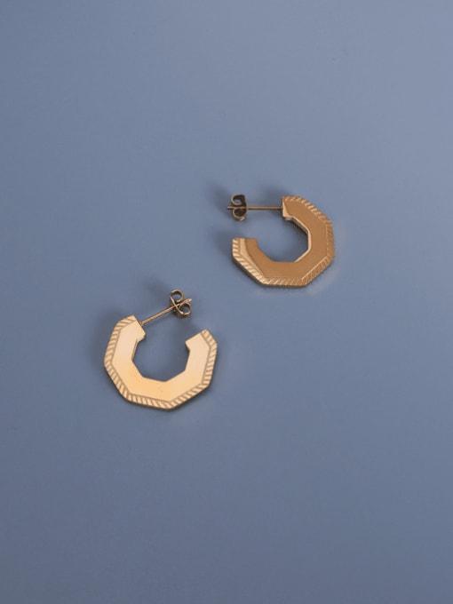 MAKA Titanium Steel Geometric Vintage Stud Earring 0