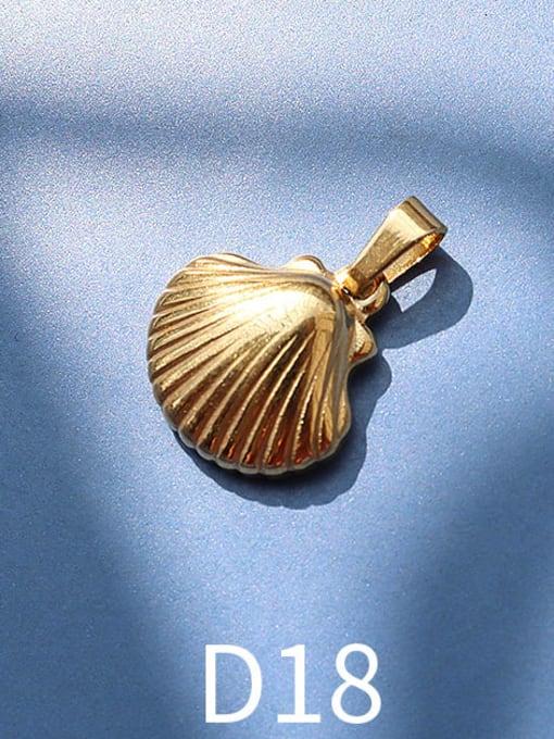 D18 golden shell Titanium Steel  Moon Star Vintage Pendant