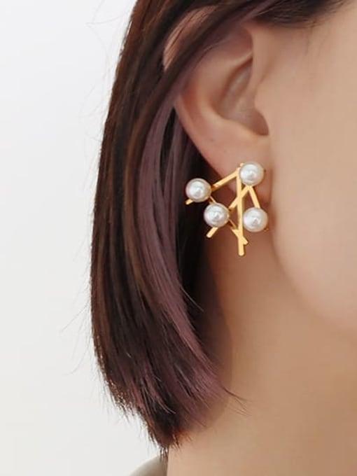 F525 pair of gold earrings Titanium Steel Imitation Pearl Irregular Minimalist Stud Earring