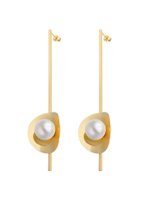 MAKA Titanium 316L Stainless Steel Imitation Pearl Geometric Vintage Drop Earring with e-coated waterproof 0