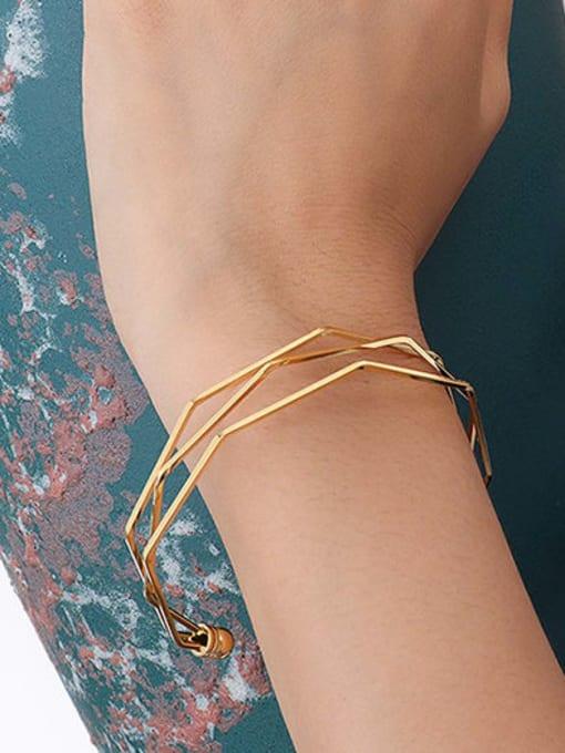 Z072 Gold Bracelet Titanium Steel Geometric Vintage Cuff Bangle