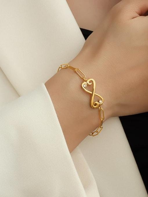 MAKA Titanium Steel Cubic Zirconia Bowknot Minimalist Link Bracelet 1