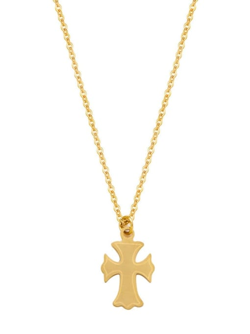YAYACH Cross Exquisite Fine Chain Necklace Gold Stainless Steel Sweater Chain 2
