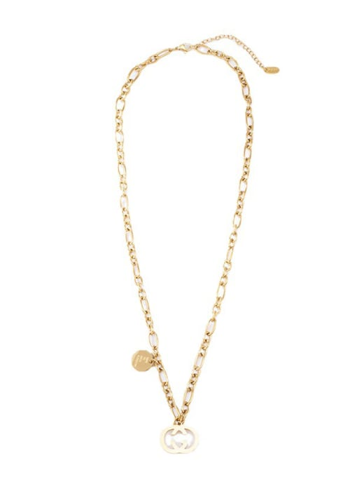 Gold Double G clavicle necklace O word necklace