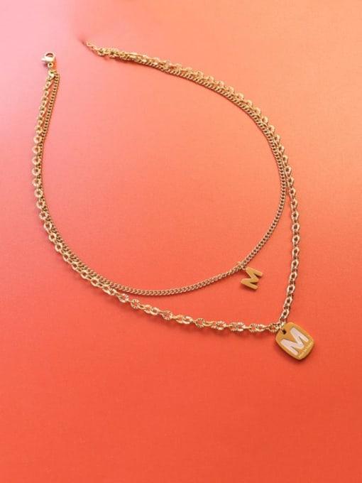 Gold Double necklaces Titanium Steel Shell Letter Vintage Multi Strand Necklace
