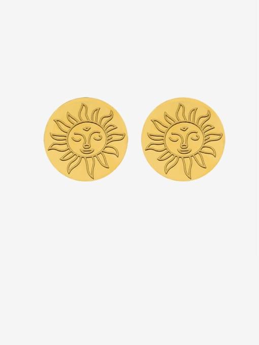 gold Titanium Steel Round Minimalist Stud Earring