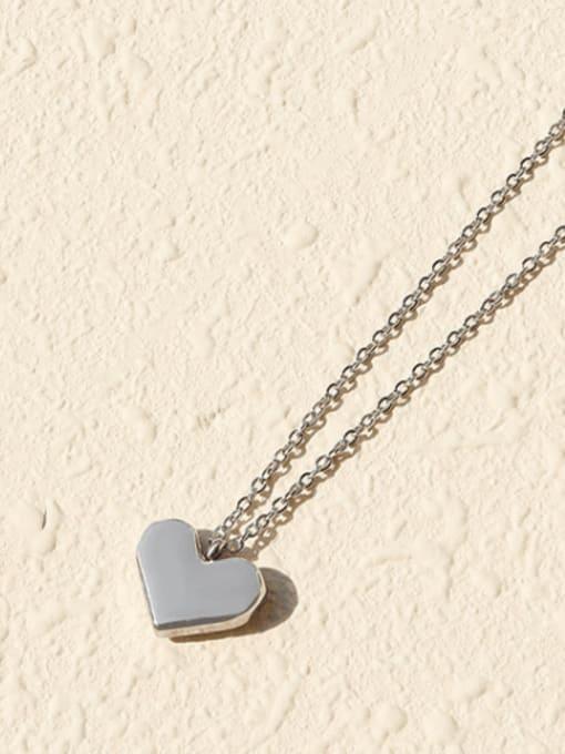 Steel necklace 40+5cm Titanium Steel Rhinestone Heart Minimalist Necklace