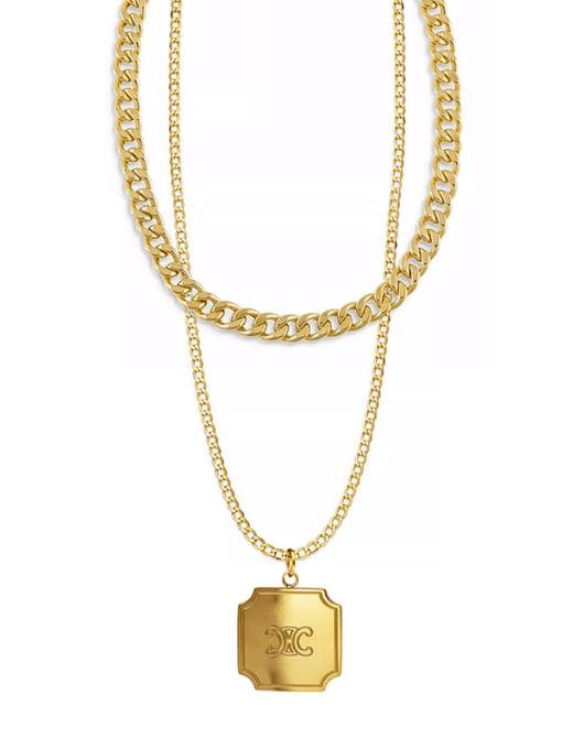 YAYACH Titanium Steel English Letter Box Pendant Necklace Plated