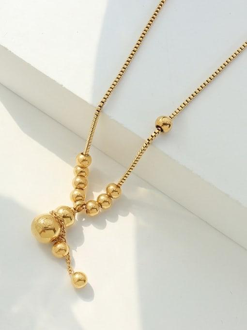 Fortune gourd Pendant Necklace 40 +5cm Titanium Steel Geometric Vintage Lariat Necklace