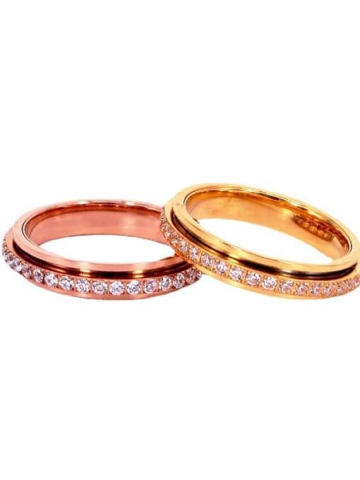 K.Love Titanium Steel Rhinestone Geometric Minimalist Band Ring 0