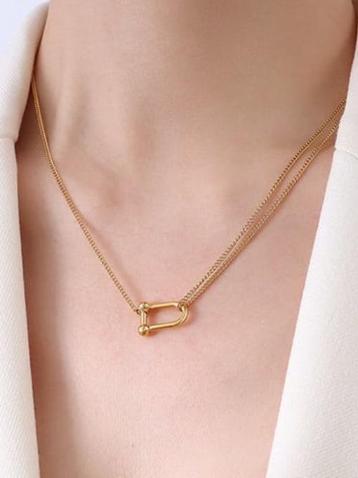MAKA Titanium Steel Geometric Minimalist Necklace 1