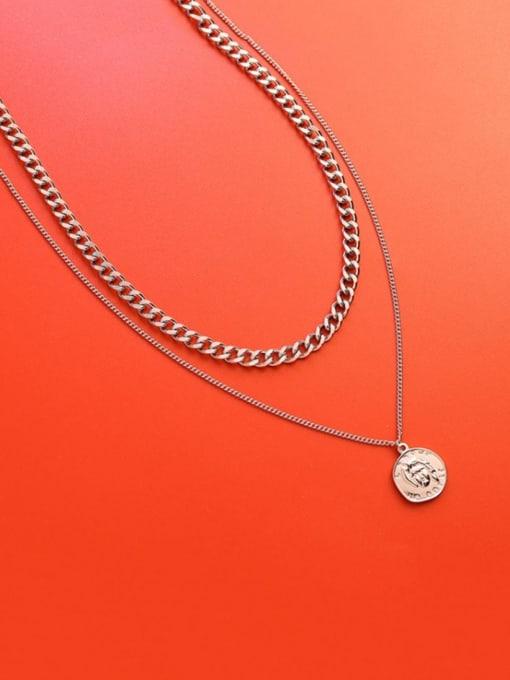 Steel double necklaces Titanium Steel Geometric Vintage Multi Strand Necklace