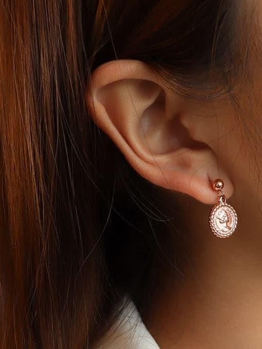 rose gold Titanium 316L Stainless Steel Geometric Minimalist Drop Earring with e-coated waterproof