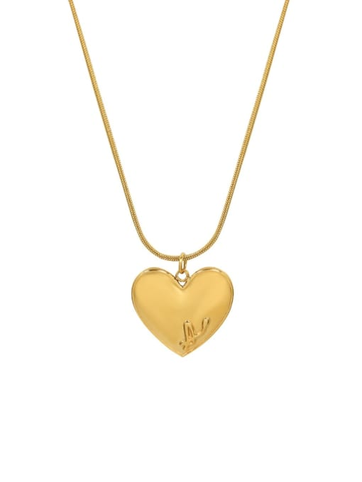 P1087 gold  40+5cm Titanium 316L Stainless Steel Heart Letter Minimalist Necklace with e-coated waterproof