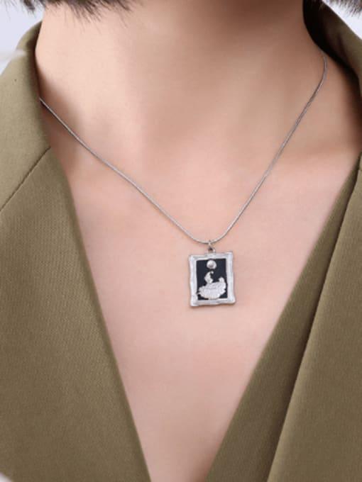 MAKA Titanium Steel Enamel Geometric Vintage Necklace 2