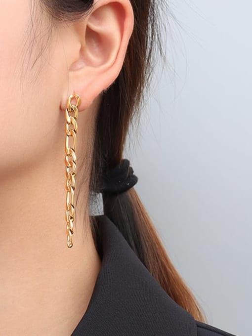 MAKA Titanium Steel Geometric Chain Minimalist Drop Earring 1