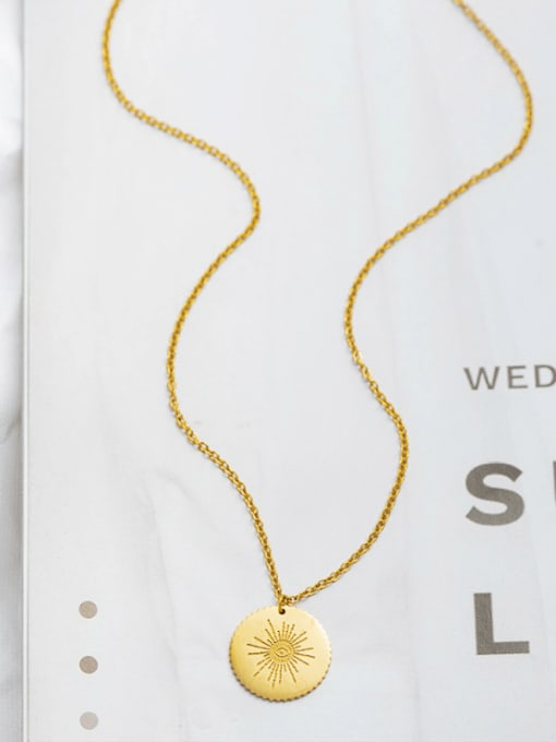 golden Simple and exquisite round stainless steel pendant necklace