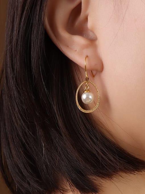 MAKA Titanium Steel Imitation Pearl Oval Vintage Hook Earring 1