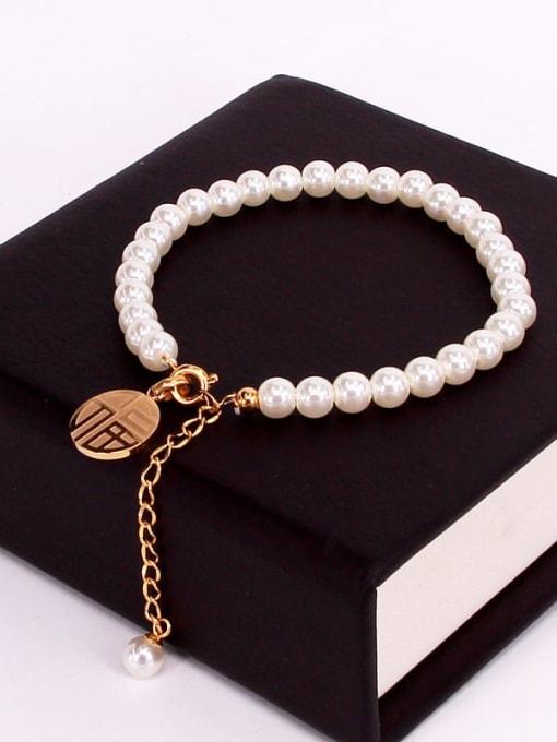 K.Love Titanium Steel Imitation Pearl Round Minimalist Beaded Bracelet 1