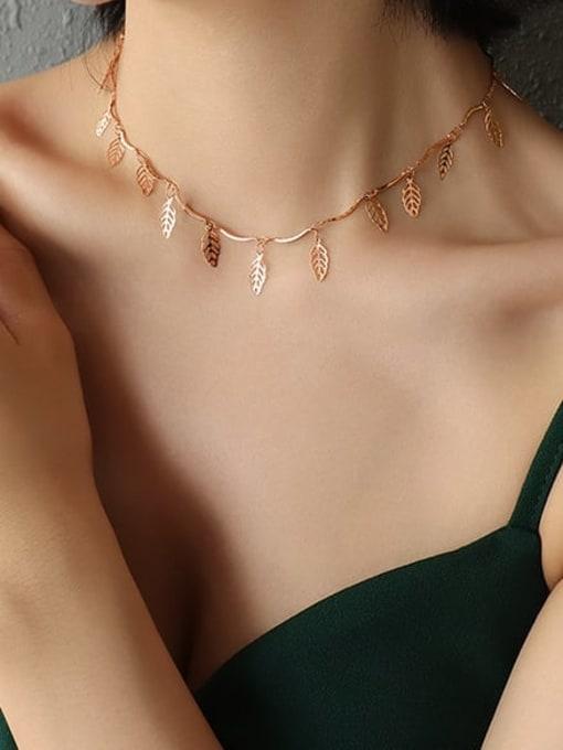 MAKA Titanium Steel Leaf Vintage Necklace 1