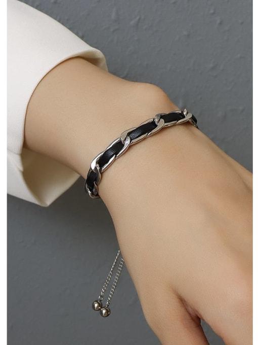 MAKA Titanium Steel Leather Geometric Vintage Adjustable Bracelet 2