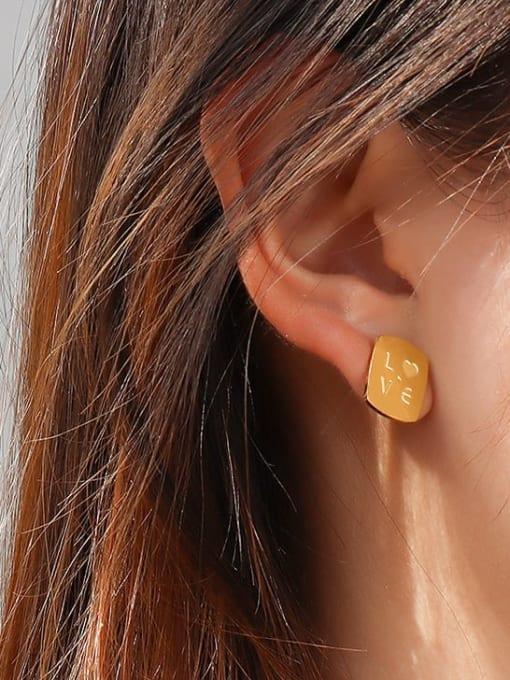 MAKA Titanium Steel Asymmetry Geometric Portrait Letters Cute Stud Earring 1