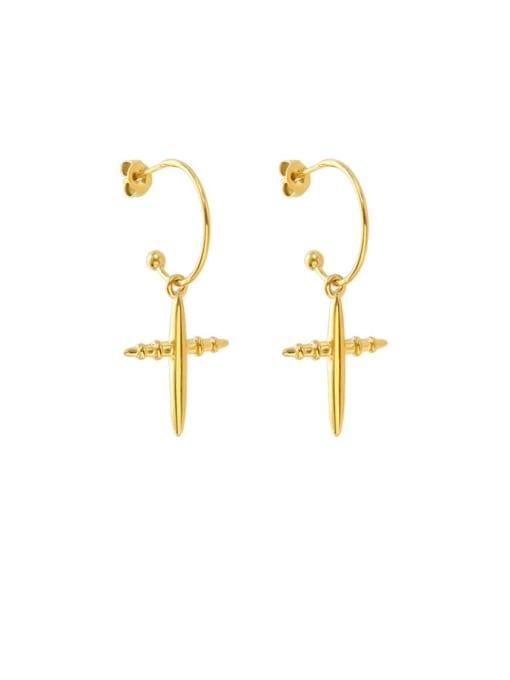 MAKA Titanium Steel Cross Minimalist Hook Earring
