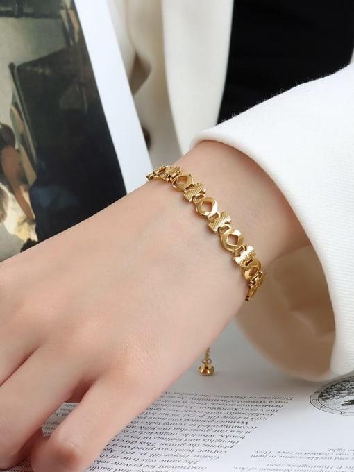 E090 gold prismatic  16+ 5cm Titanium Steel Geometric Minimalist Link Bracelet