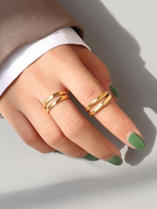 MAKA Titanium Steel Geometric Minimalist Stackable Ring 2