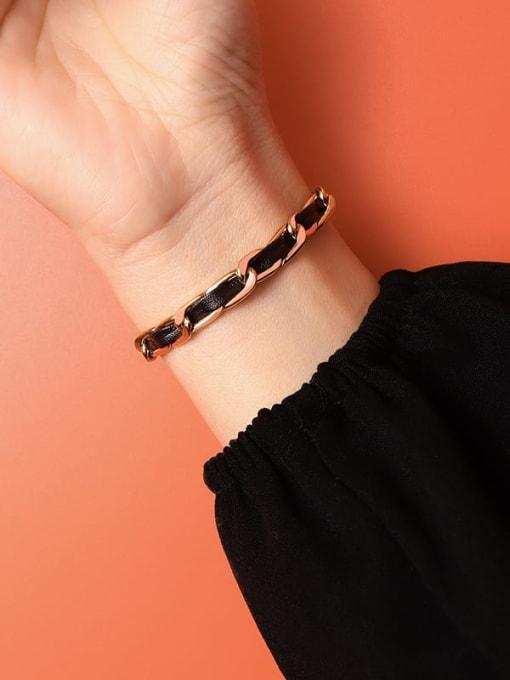 Rose Gold Bracelet 14 +5cm Titanium Steel Leather Geometric Vintage Link Bracelet