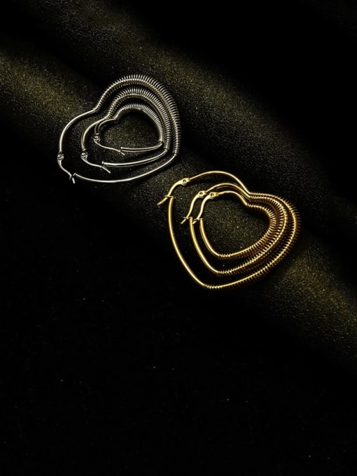MAKA Titanium Steel Heart Vintage Huggie Earring 4
