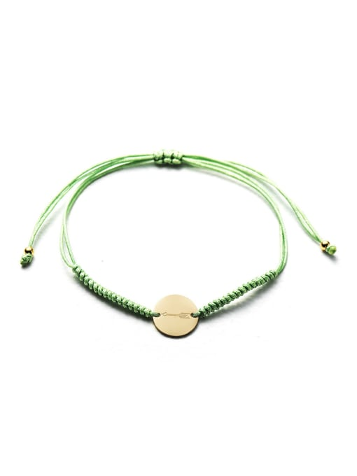 Green Stainless steel Round Minimalist Adjustable Handmade Weave Bracelet