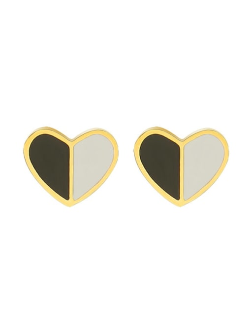 f411 Gold Titanium Steel Shell Heart Minimalist Stud Earring