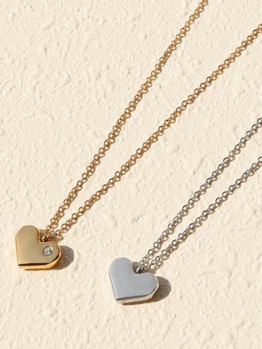 MAKA Titanium Steel Rhinestone Heart Minimalist Necklace 2