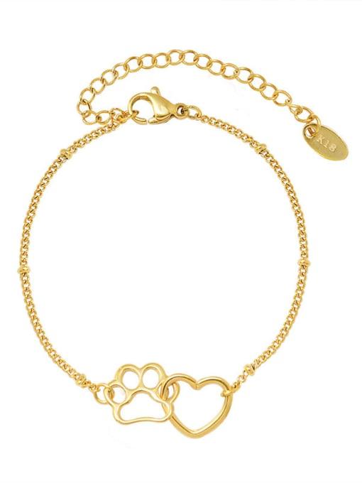 MAKA Titanium Steel Hollow Heart Minimalist Link Bracelet 0