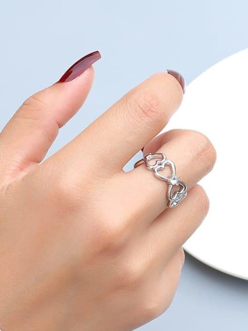 MAKA Titanium Steel Rhinestone Heart Artisan Band Ring 3