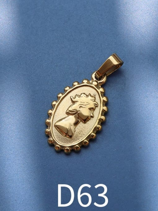 D63 gold Stainless steel Geometric  Vintage Pendant