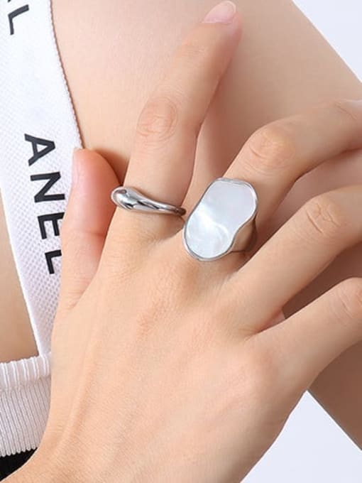 A259 steel ring Titanium Steel Shell Geometric Vintage Band Ring
