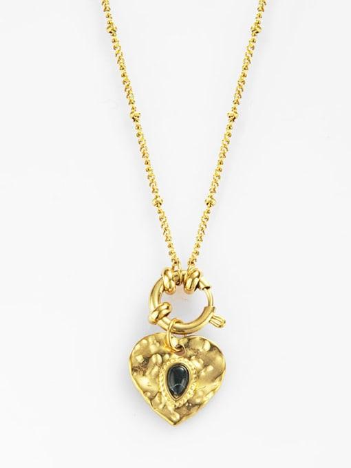 YAYACH Round Pendant water drop Gem Love titanium steel necklace
