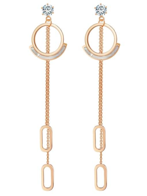 Rose Baroque crystal stainless steel simple titanium steel earrings