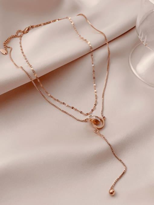 Rose Gold Double Necklace Titanium Steel Tassel Minimalist Multi Strand Necklace