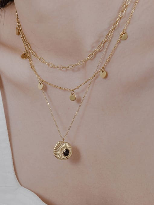 YAYACH Small fresh drop oil embossed texture pendant necklace 1
