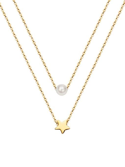 MAKA Titanium Steel Star Minimalist Multi Strand Necklace 0