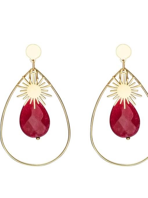 Red Inlaid fashion Sun Star Earrings