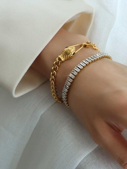 MAKA Titanium Steel Cubic Zirconia Geometric Minimalist Bracelet 1