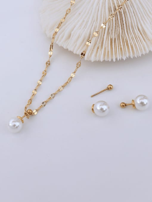 MAKA Titanium 316L Stainless Steel Imitation Pearl Minimalist Round  Earring and Necklace Set with e-coated waterproof 2