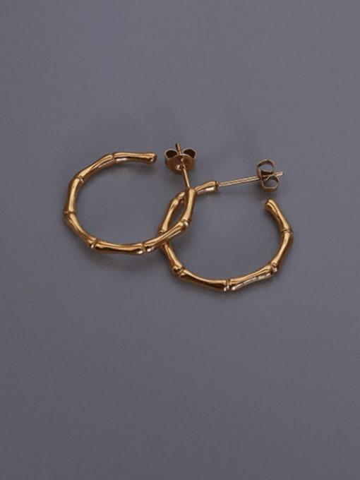 MAKA Titanium Steel Round Vintage Hoop Earring 0