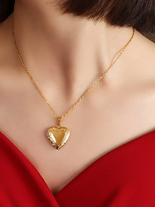 gold 40+ 5cm Titanium 316L Stainless Steel Smooth Heart Minimalist Necklace with e-coated waterproof